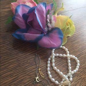 "Jewelry - Corsage, pearl bracelet, and ""Katie"" bracelet."